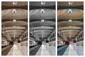 Auckland Bahnhof: Farbstudie des modenrnen Bahnsteigs in Sepia, Schwarz/Weiß und im Original