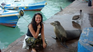 Galápagos, Santa Cruz, Puerto Ayora: Otti und der Seelöwe vom Fischmarkt